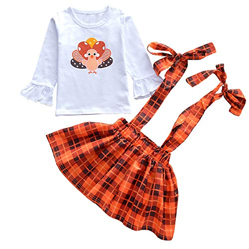 Thanksgiving Toddler Baby Girl Turkey Long Sleeve T-Shirt Tops + Plaid Suspender Skirt 2PCS Overalls Clothes Set (White, 4 -