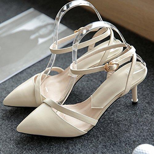 El Desnudo EU35 Femenino De SHOESHAOGE Sandalias Eu39 Heel Dulce con Zapatos Rosadas Atadura Zapatos Ranurada Punta High Fina Rdqx5BU