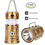 LED Camping Lantern - 2 Pack Camping Lantern, GT ROAD Solar Rechargeable Led Camping Lantern