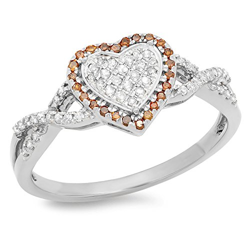 - 0.25 Carat (ctw) 10K White Gold Round Cut Red & White Diamond Swirl Promise Heart Ring 1/4 CT
