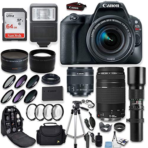 Canon EOS Rebel SL2 DSLR Camera + Canon EF-S 18-55mm + Canon 75-300mm & 500mm Telephoto Lens + Wide Angle & Telephoto Lens + Macro Filter Kit + 64GB Memory + Accessory Kit