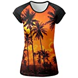 AOBOER Women Hawaii Coconut Palms Classic Short Sleeves Tees Quick Dry Tshirt