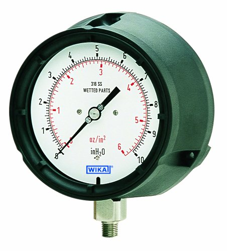 WIKA 4217110 Capsule Low Pressure Gauge, Dry-Filled, Copper Alloy Wetted Parts, 4-1/2