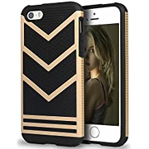 iPhone SE Case, Pasonomi® iPhone SE Bumper Cover, Anti-slip [Shock Absorbing] Flexible Protective Shell Slim Defender Shield Carrying Case for Apple iPhone SE / 5 / 5s (Black/Gold)