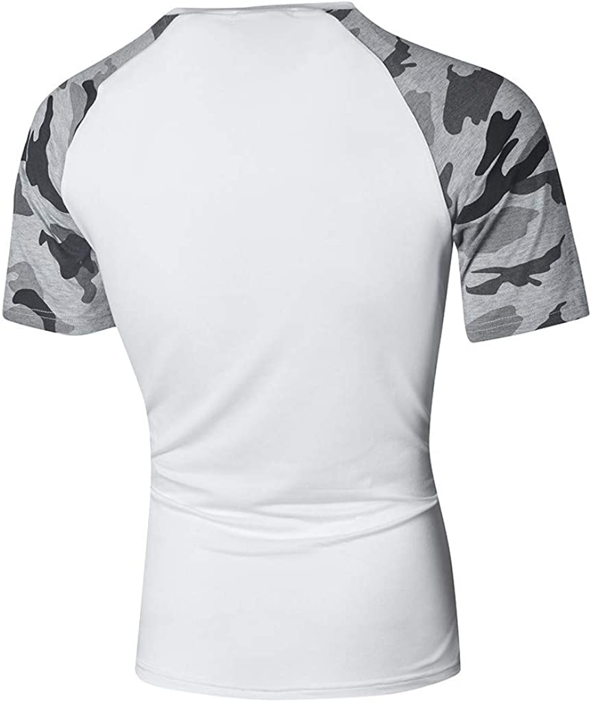 Mens Tops T Shirt Blouse Limsea Fashion Camouflag Print Patchwork Personality Short Sleeve Slim
