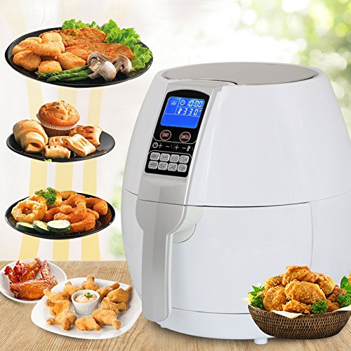 SUPER DEAL Pro 3.7Quart Electric Air Fryer w/ 8 Cooking Presets, Temperature Control, Auto Shut off & Timer, LCD Digital Display Screen (White) (Best White Cake Recipe Paula Deen)