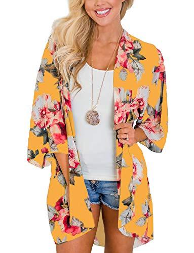 (Women's Resort Wear Maxi Dress Open Front Summer Beach Vacation Cover Ups Chiffon Kimono (Yellow,L))
