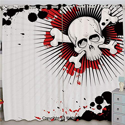 Justin Harve window Skull with Crossed Bones Over Grunge Background Evil Scary Horror Graphic Bedroom Living Room Curtain Set of 2 Panels(100