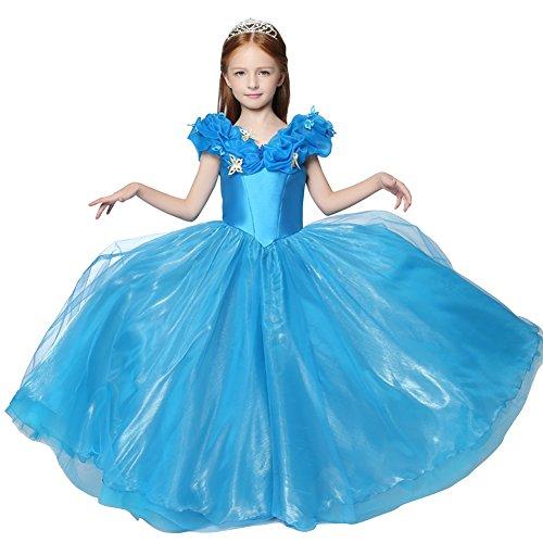 Cinderella Costumes 2016 (JoyVany Girl's 2016 New Cinderella Dress Princess Costume Butterfly Blue 14)