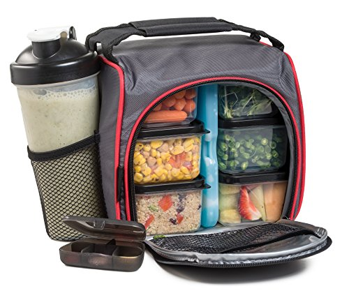 Meal Prep Lunch Bag with 6 Portion Control Food Containers Leak-Proof