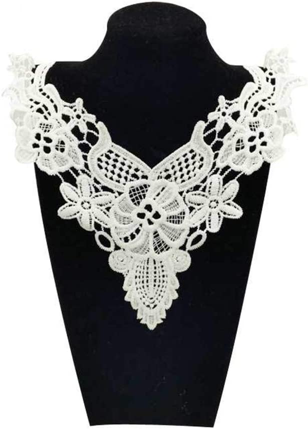 White Applique Lace Fabric Sewing Craft Embellishments Trims DIY Neck Collar