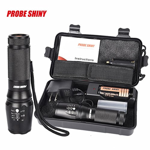 Leewa 5000LM(Max output) Zoomable XM-L T6 LED Tactical Flashlight +1x Battery Charger (US PLUG) +1x26650 Battery +1x Flashlight Nylon Pouch +1x User Manual +1x Box by Leewa
