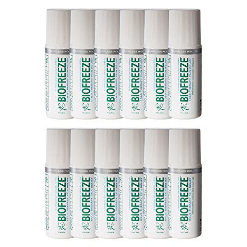 Biofreeze Pain Relief Gel for Arthritis, 3 oz. Roll On, Colorless Formula, Case of 12, 4% Menthol by Biofreeze