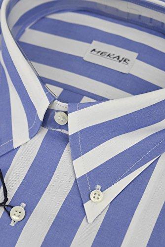 CASSERA Camicia Uomo 17 43 Bande Bianco/Azzurro Button Down