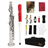 LADE Soprano Saxophone SAX Bb Brass Lacquered Body and Keys with Lubricating Cork Grease