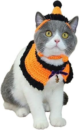 Jizhen Vestido de Mascota Gato Falso Collar Mascota Sombrero Capa de Halloween Babero Sombrero de Halloween Sombrero de Peluche Gato Británico Corto de Belleza Corta Sombrero de Perro Bufanda-Naranja: Amazon.es: Hogar