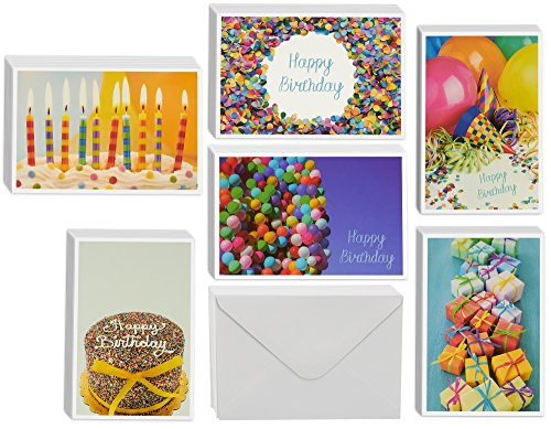 48 Pack Colorful Happy Birthday Cards 6 Different Photo Party Elements Photography Style Bulk Box Set Envelopes Included (4 x 6 inches)