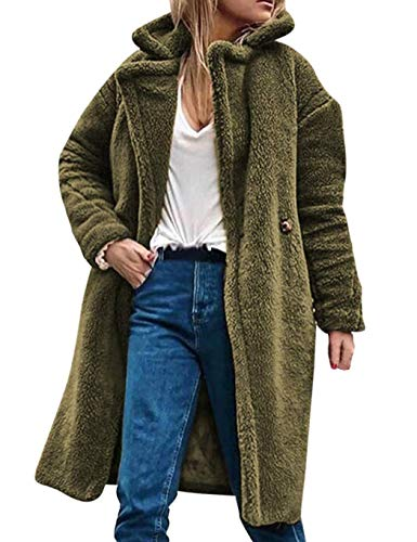 Meflying Women Winter Warm Notched Collar Button Artificial Fur Coat Outwear Faux Leather Army Green (Coat Notched Collar Fur)
