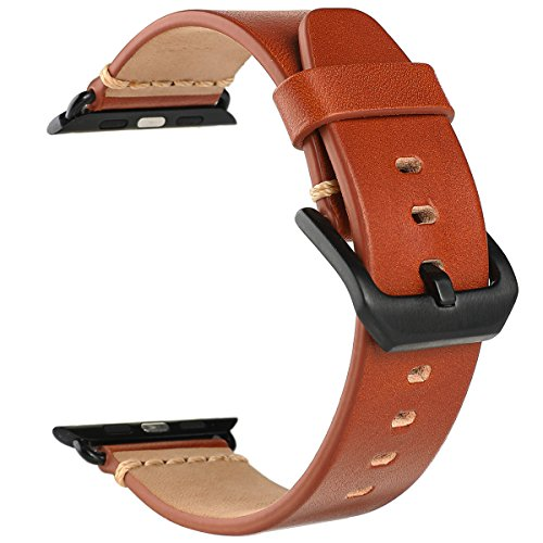 EACHE Apple Watch Band 42mm Red Brown Vegetable-tanned Leather Replacement Strap For Iwatch Series 1,2,3 Black Adapter (Leather Red Brown)