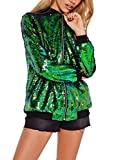 #8: IRISIE Women Sequins Ribbed Long Sleeve Baseball Collar Zipper Jacket Coat
