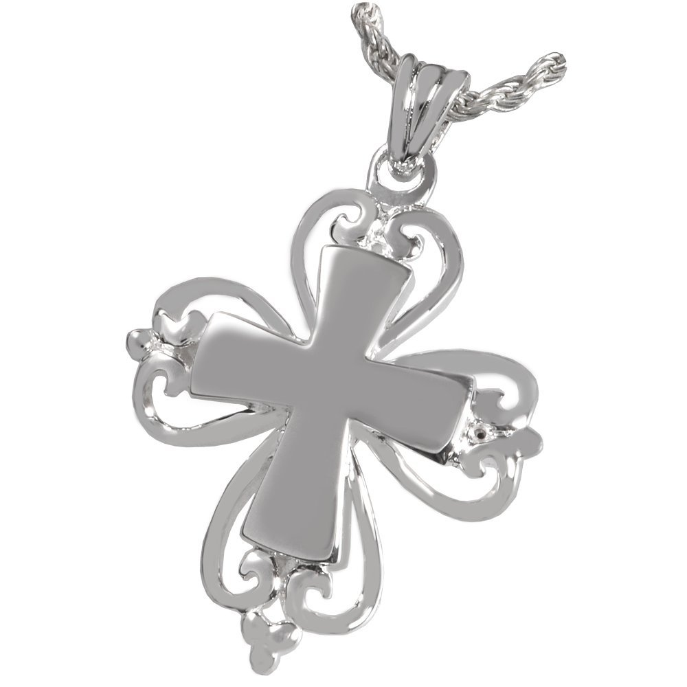 Memorial Gallery MG-3120s Romantic Cross Sterling Silver Cremation Pet Jewelry