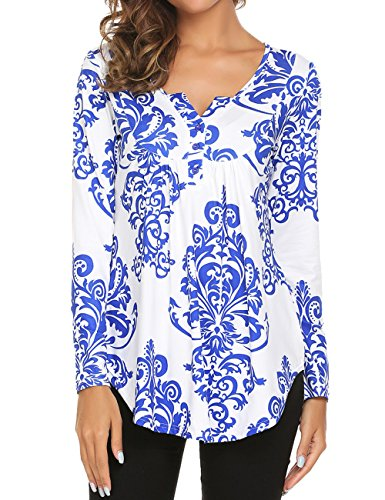 (Halife Long Sleeve Henley Top, Paisley Print Button Up Shirts for Women Casual O-Neck Tunic T-Shirt Blue and White,M)