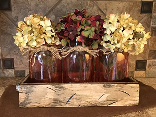 Mason Canning Jar Centerpiece Utensil Holder Kitchen Table 3 Clear Colored Glass QUART Jars in Distressed Wood ANTIQUE WHITE TRAY with handles -Flowers (optional) Amber Yellow, Ruby Red, Sapphire Blue - Qt Ruby