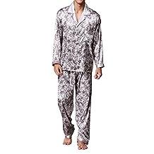 Musen Men's Silk Pajama Sets 2pcs Satin Sleepwear Loungewear