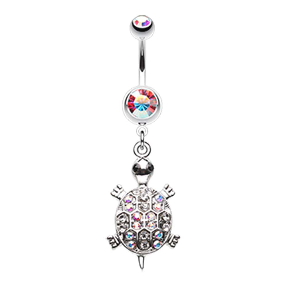 - Sold Individually 1.6mm Turtle Dazzle Belly Button Ring 14G
