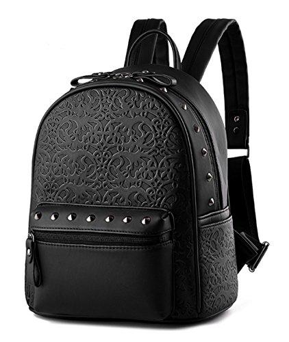 Keshi PU Cute College School Laptop Backpack -Straps Reinforced Black