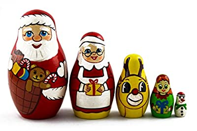 Matryoshka Matrioska Babuska Russian Nesting Wooden Doll Christmas Story Santa Claus Babooshka 5 Pc Stacking Hand Painting Beautiful Nested Matriosjka Matreoska Matreshka Matrjoska Matroeska