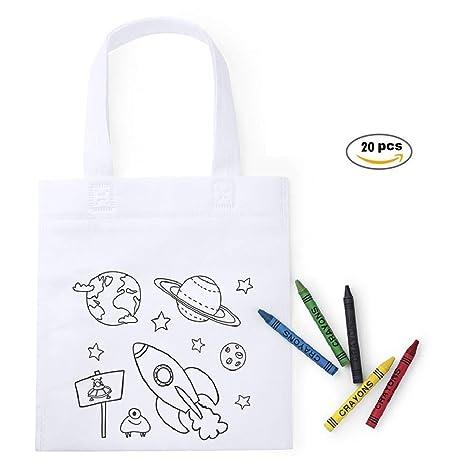 MIRVEN Lote 20 Bolsas para Colorear con 5 Ceras de Colores Cada una. Ideal para Detalles Cumpleaños Infantiles y Piñatas de Cumpleaños, Regalos niños ...