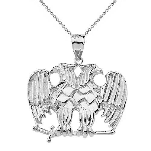 Solid 10k White Gold Double Headed Eagle Masonic Pendant Necklace, ()
