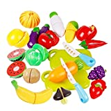 Jspoir Melodiz Kitchen Pretend Play Toy, Fruits Vegetable Food Cutting Home Kitchen Learning & Activity Toy Kids,20pcs