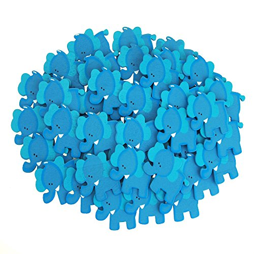 Small Elephant Animal Wooden Baby Favors, Blue, 1-1/4-Inch (50-Piece) ()