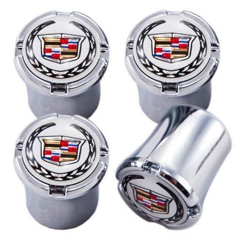 White & Chrome Cadillac Emblem Logo Valve Stem Caps ; CTS, CTS-V, SRX, ATS, XTS, ELR