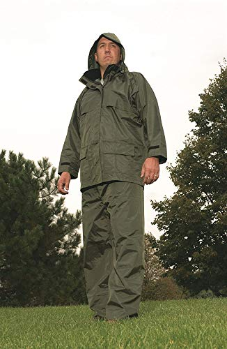 Viking Men's Green 150D Rip-Stop Polyester 3-Piece Rainsuit with Hood, Size: L, Fits Chest Size: 42