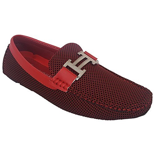 Classique Slip Smart Driving On 7027 Loafers Designer Italian Moccasins Formal Shoes Red New Mens rgwqFXr