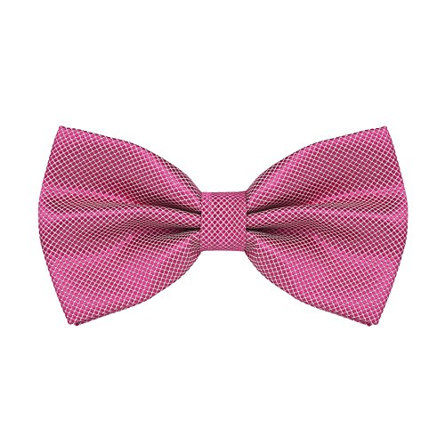 DEVPSISR Mens Classic Pre-Tied Solid Formal Tuxedo Bowtie Adjustable Length (Rose)