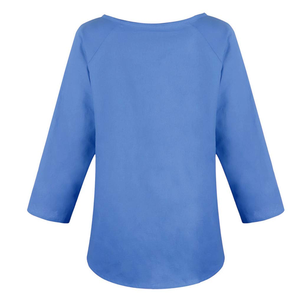 Leinenbluse Damen Sommer Gro/ße Gr/ö/ßen,Damen Casual O-Neck 3//4 /Ärmel Solide Leinen T-Shirt Lose Pullover Top Bluse Leinenbluse Damen Kurzarm Leinenhemd Damen Sommer T-Shirt Tops