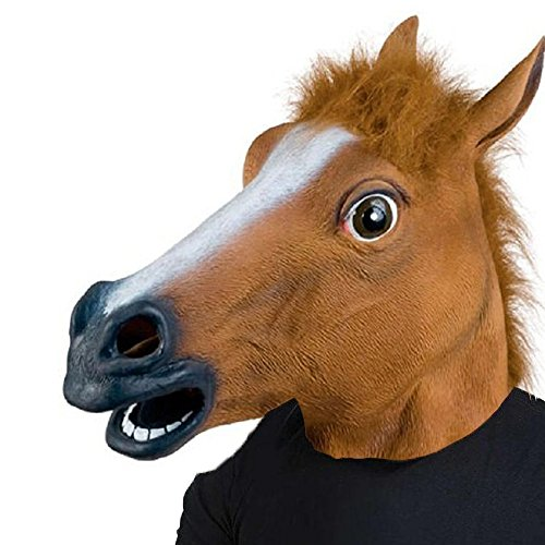 Brown Horse Head - XIAO MO GU Halloween Costume Party Latex Animal Horse Head Mask (Brown)