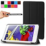 Infiland Lenovo Tab2 A8 Shell Case, Ultra Slim Tri-Fold Stand Case Cover for Lenovo Tab 2 A8-50 8-Inch 16 GB Tablet 2015 Release Only (Tab 2 A8, Black)