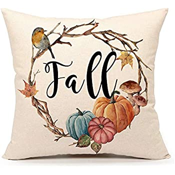 4TH Emotion Fall Pumpkin Bird Throw Pillow Cover Farmhouse Autumn Cushion Case for Sofa Couch 18x18 Inches Cotton Linen