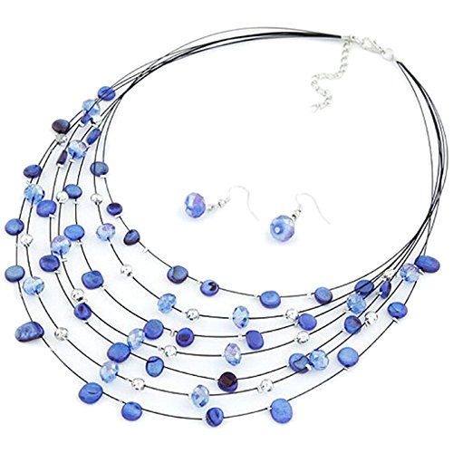TOOGOO(R) Gorgeous Beaded Multi Strand Necklace and Drop/Dangle Earring Set-Blue (Strand Necklace Blue Multi)