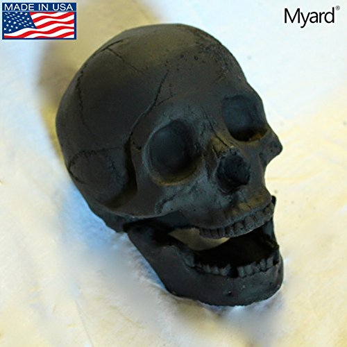 Myard DELUXE Log - Imitated Human Skull Fire Gas Log for Natural Gas / Liquid Propane / Wood Fire Fireplace & Fire Pit Halloween (Black, 1pk)