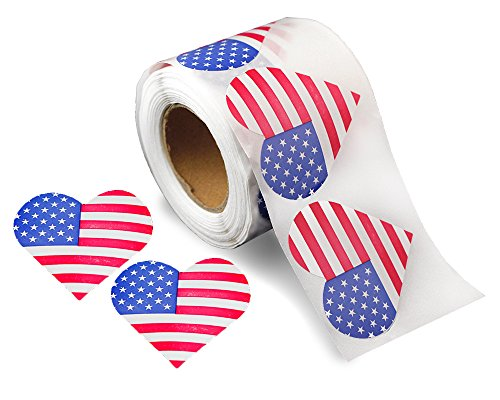 250 American Flag Heart Stickers (1 Roll of 250 ()