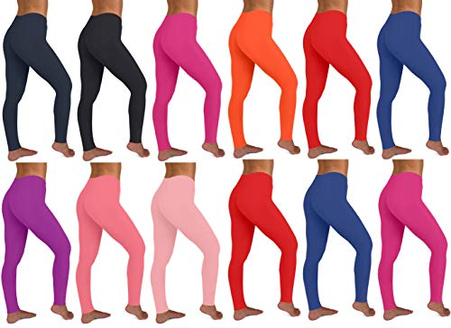 - Sexy Basics Women's 12 Pack Stretch Cotton Full Length Legging Tights (12 Pack -Core Solids 1, Large)