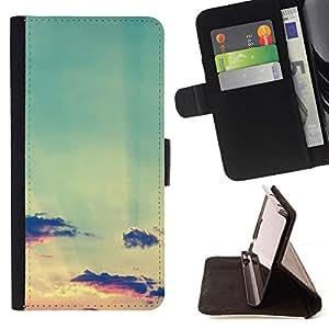 - teal sky clouds sunset sun summer - - Prima caja de la PU billetera de cuero con ranuras para tarjetas, efectivo desmontable correa para l Funny HouseFOR HTC One M8