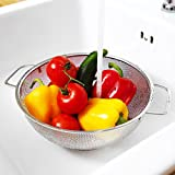Simplyhomeonline Micro Perforated Strainer for Food Lovers – 5 quart Kitchen Colander For Quinoa Spaghetti Beans Tomato Lettuce & Fruits Premium Stainless Steel Metal Colanders for Fine Cooking