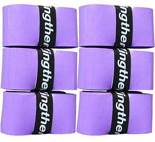 Zingther Premium Super Tacky Professional Self-Adhesive Grip Overgrip Tape for Tennis Racket, Squash Racket, Badminton Racquet, Racquetball Racket and Pickleball Paddle (6 Grips,Purple)
